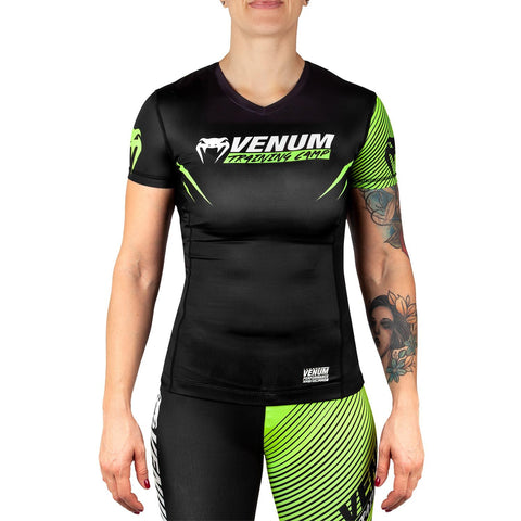 Venum Training Camp 2.0 Ladies Short Sleeved Rash Guard - Black/Neon Yellow - Gymzey.com