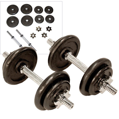 Adjustable Weight Plate Dumbbells Set 20kg (2 x 10kg) - Gymzey.com
