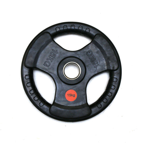 Diagor Tri-Grip Rubber Coated Cast Iron Olympic Weight Plate, 15kg - Gymzey.com