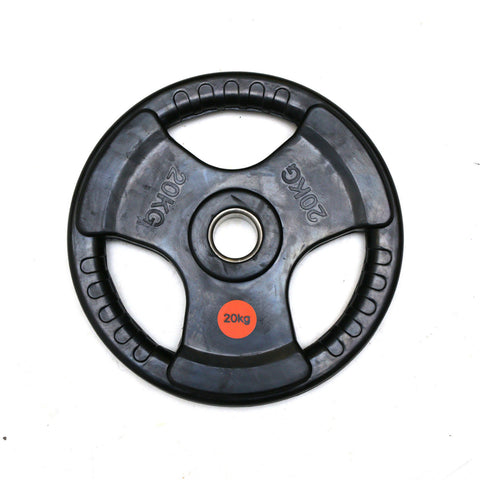 Diagor Tri-Grip Rubber Coated Cast Iron Olympic Weight Plate, 20kg - Gymzey.com