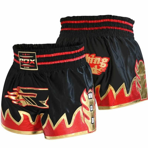 RDX Crimson Satin Muay Thai Shorts - Black - Gymzey.com