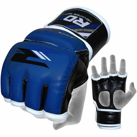 RDX Grappling MMA Training Leather-X Gloves - Blue - gymzey-com