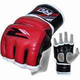 RDX Grappling MMA Training Leather-X Gloves - Red - Gymzey.com