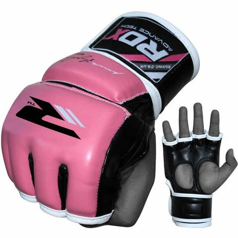 RDX Grappling MMA Training Leather-X Gloves - Pink - Gymzey.com