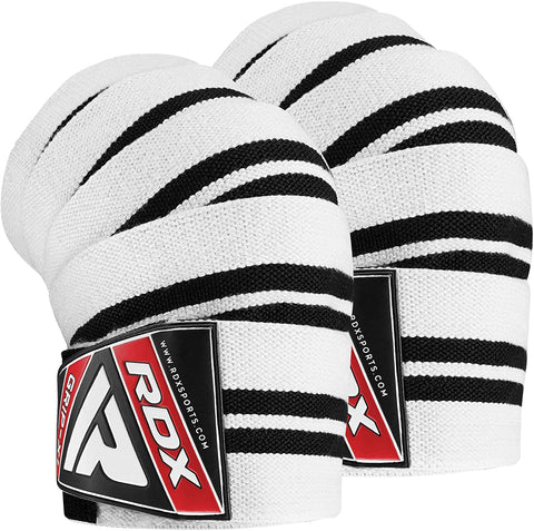 RDX K1 Knee Bandage Wraps for Weight Lifting - White