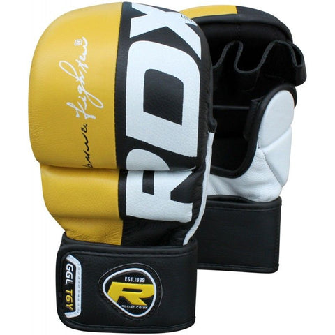 RDX Leather Grappling Gloves for Muay Thai & MMA T6Y - gymzey-com