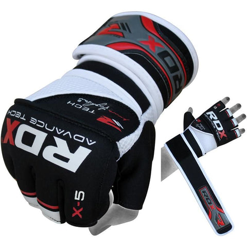 RDX X5 Neoprene Power Fighter Grappling Gloves - Red - Gymzey.com
