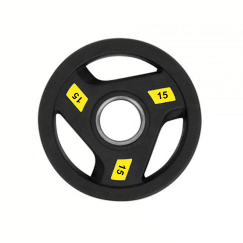 Rubber-Coated Olympic Tri-Grip Weight Plate - 1 x 15kg