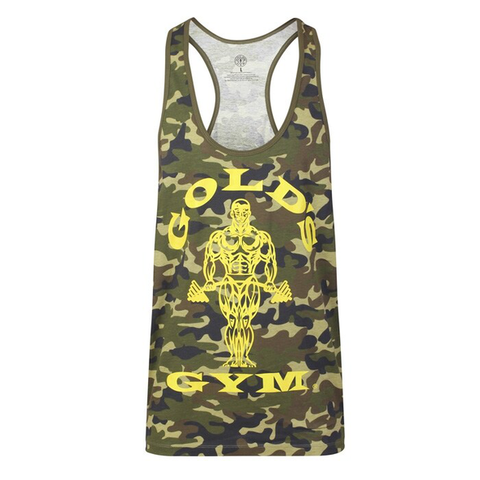 Golds Gym Muscle Joe Stringer Vest - Camo/Green - Gymzey.com