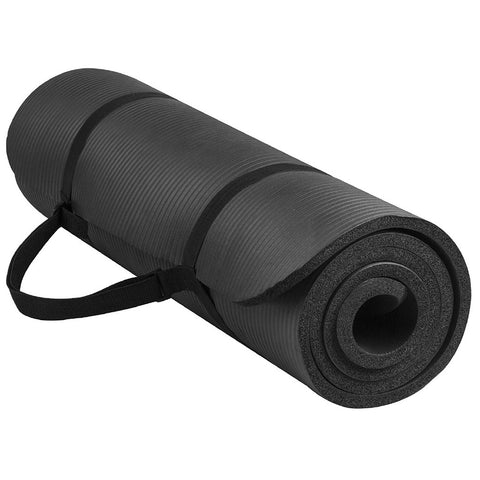 Extra Thick Exercise Yoga Mat with Carrying Strap - Black