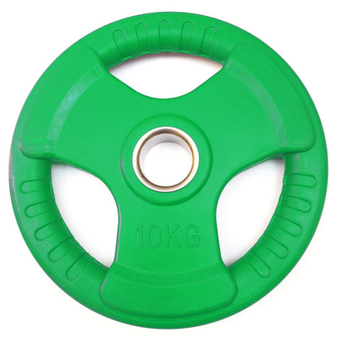 "Colour Rubber Coated Tri Grip Olympic 2"" Weight Plates - 2 x 10kg - Minor Discolouration"