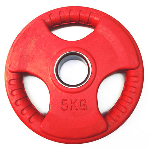 "Colour Rubber Coated Tri Grip Olympic 2"" Weight Plates - 2 x 5kg"