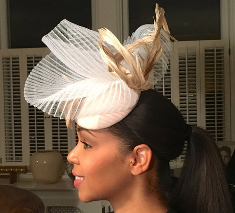 Fancy Beige and White Fascinator- White Pleated Crinoline-Tan Feathers- Royal Ascot Hat-Polo Matches Hat-Evening Hat-Church Hat-Wedding Hat-