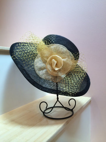 Black Sinamay Straw Hat!