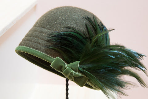 """Champion"" Hunter Green Cloche Hat"