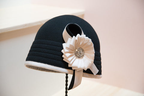 """Champion"" Black and White Cloche Hat"