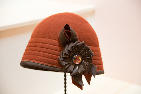 """Champion"" Bright Rust Cloche Hat"