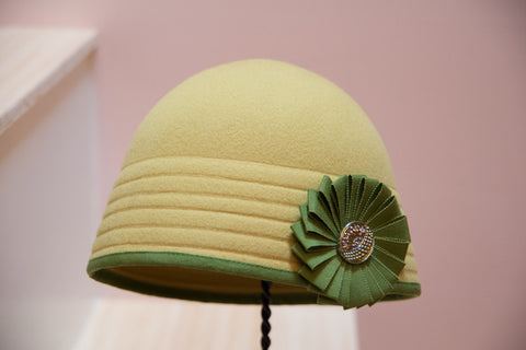 """Champion"" Yellow-Green Cloche"