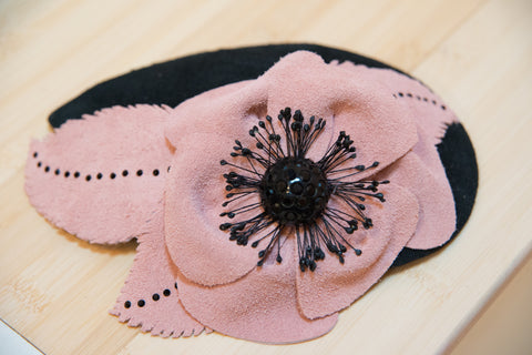 Edith, Pink and Black Suede Fascinator