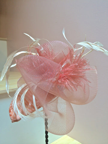 Layla, Patent Leather Peach Fascinator