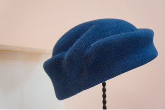 Zoe, Blue Velour Pill Box Hat