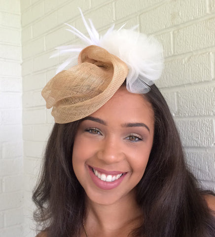 Tan Free Form Sinamay Straw Fascinator
