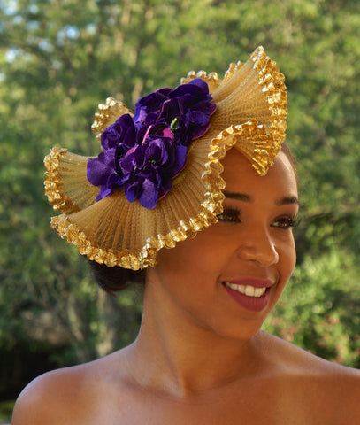 Gold and Purple Frilly Fascinator!