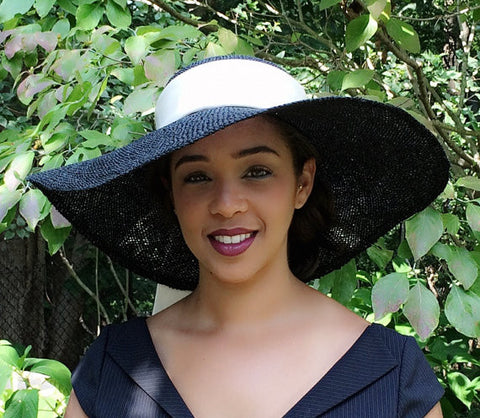 BLACK WIDE BRIM Hat with Ivory Sash!