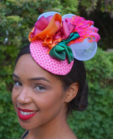 Colorful Pink fascinator!