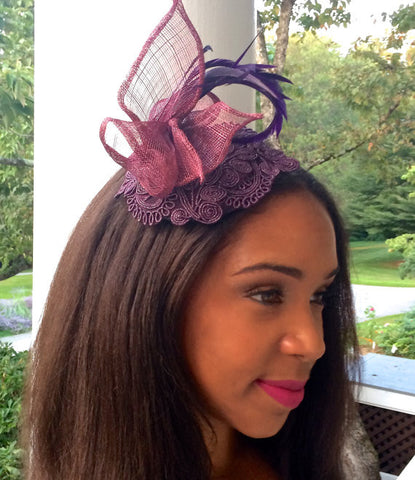 Aubergine fascinator, Mother of the Bride headpiece, Purple headpiece, Soutache headpiece in Aubergine. Brides maids or Garden, Pool Party