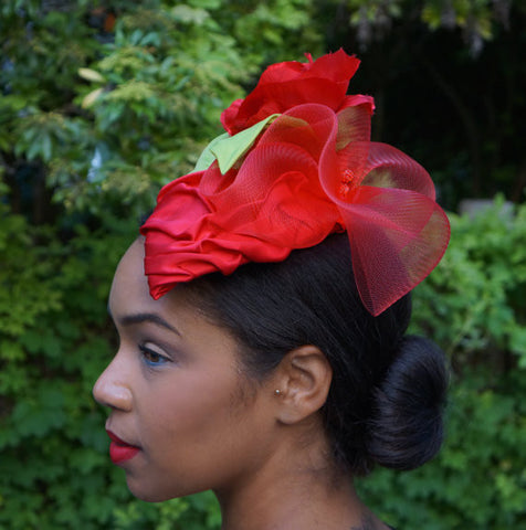 Red Satin Fascinator!