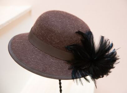 Lillian, Brown felt hat with A Brim