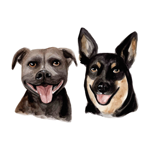 Custom Pet Portrait A4 - Two pets