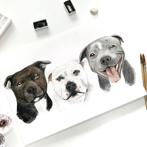 Custom Pet Portrait A3 - Three Pets