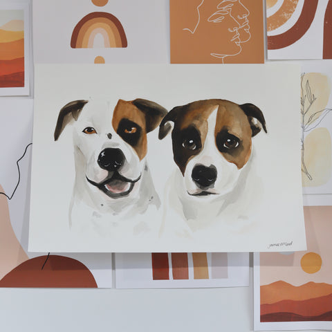 Custom Pet Portrait A3 - Two Pets