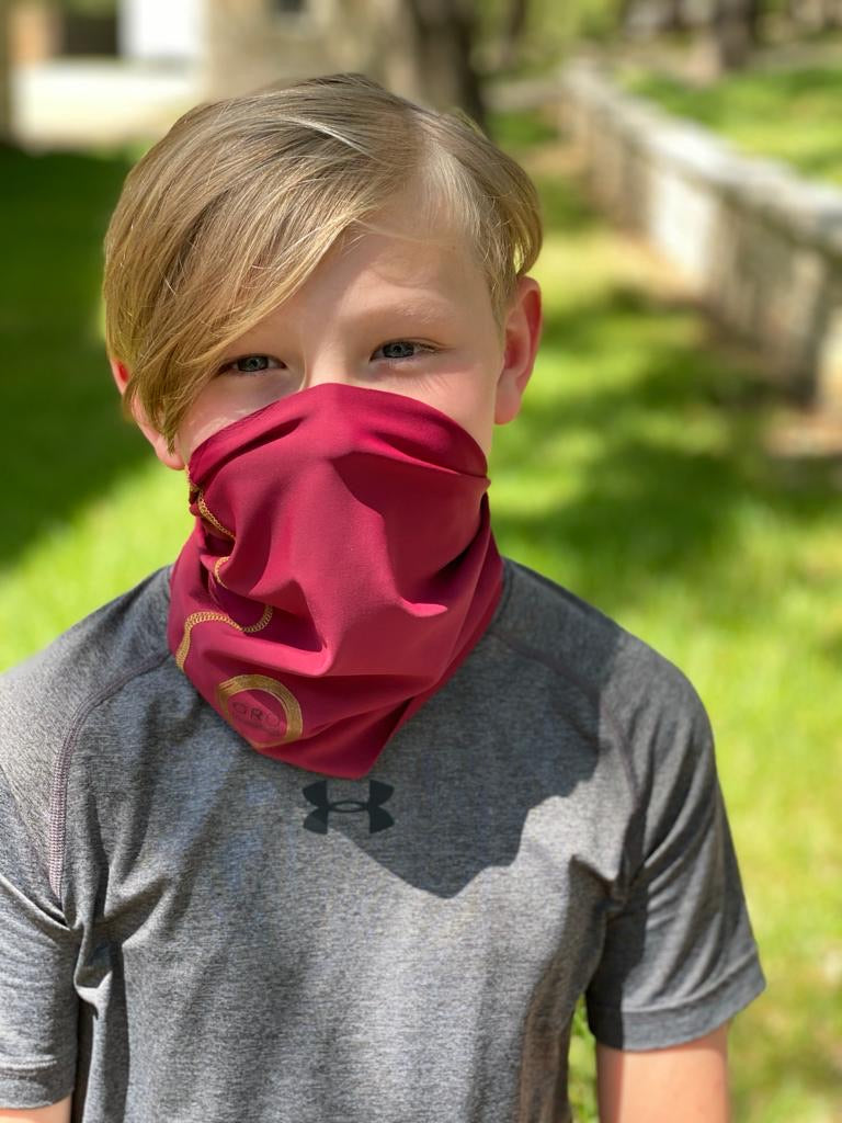 A Baya / Cranberry Red Face Covering / Neck Gaiter perfect for hiking, adventures, and just ordinary everyday activities where a  facemask is required.
