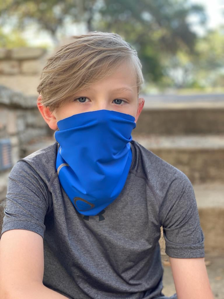 A Rey / Royal Blue Face Covering / Neck Gaiter perfect for hiking, adventures, and just ordinary everyday activities where a  facemask is required.