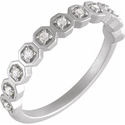 Diamond and White Gold Band