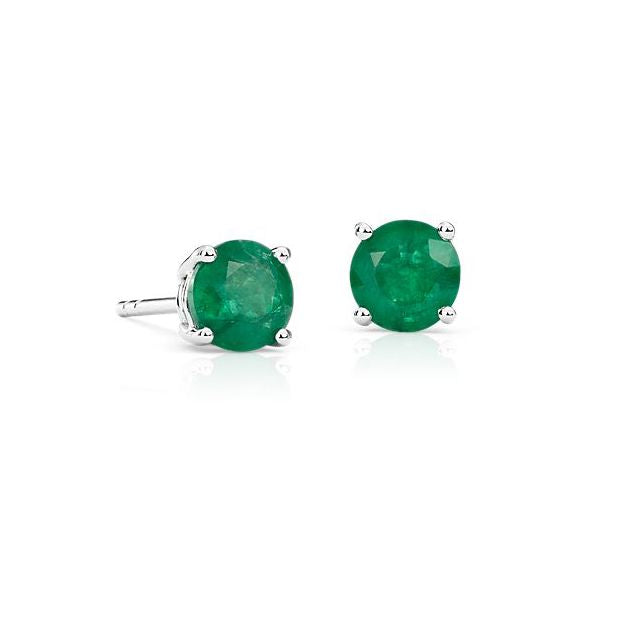 Emerald Studs in White Gold
