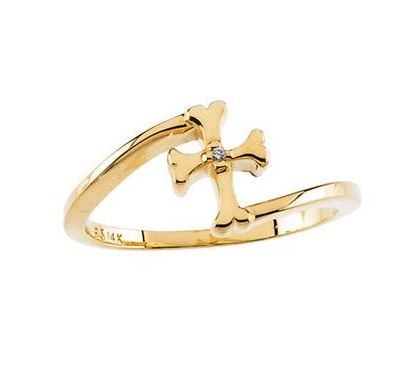 Youth Gold Cross Diamond Ring