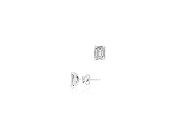 Diamond Emerald Cut Earrings