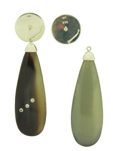 Buffalo Horn Diamond Drops with Woolly Mammoth Tops