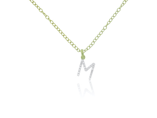 Initial Diamond M Charm with Chain