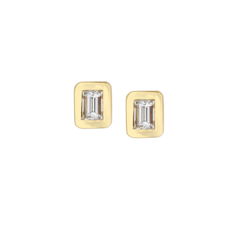 Diamond Studs Rectangular in Yellow Gold