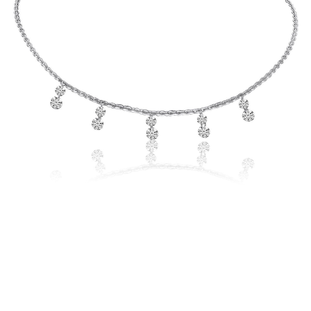 Double Diamond Pierced Necklace