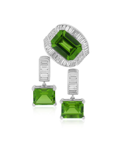 Custom Platinum, Diamond and Peridot Ring and Earrings
