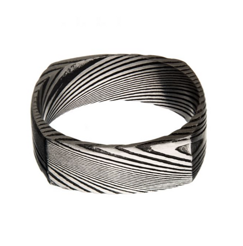 Mens Damascus Square Ring