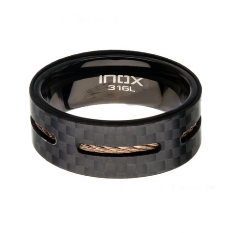 Mens Cable Inlay Ring