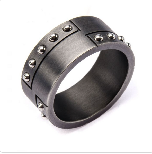 Mens Gunmetal Beaded Ring