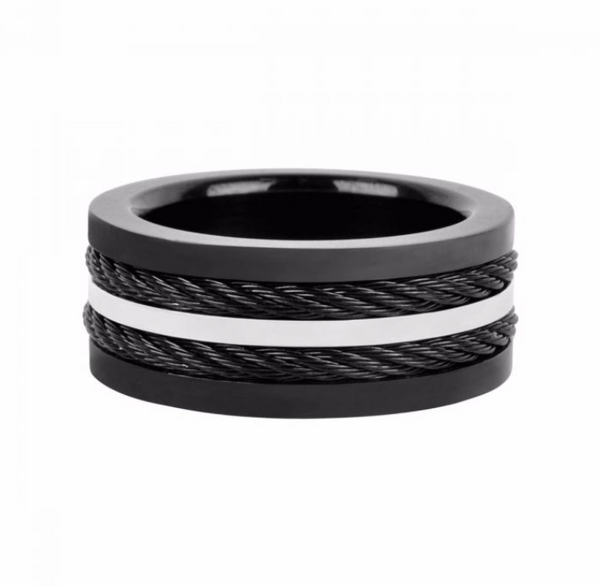 Mens Multiple Cable Steel Band Ring